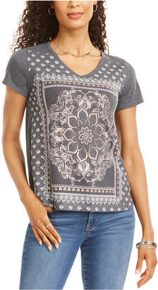 Style&Co. Style & Co Petite Placed-Print V-Neck T-Shirt