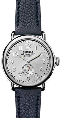 Shinola Men's 41mm Runwell Men's Textured Leather Watch, Silver/Navy