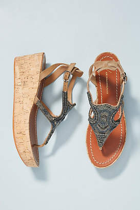 Anthropologie Beaded Cork Platform Sandals