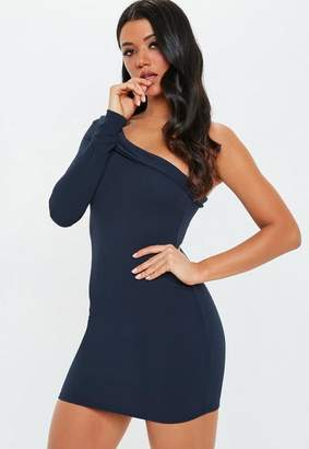 Missguided Navy One Shoulder Tailored Mini Dress