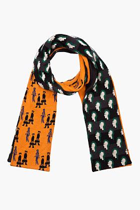 Raf Simons Orange & green double-pattern scarf