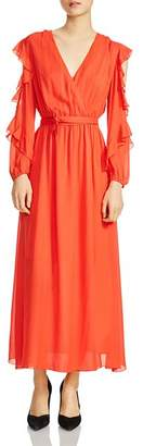 Maje Remy Ruffled Cold-Shoulder Maxi Dress