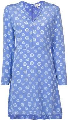 HVN floral V-neck mini dress