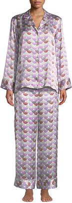 Natori Peacock Geometric Silk Pajama Set