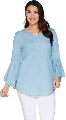 Belle By Kim Gravel Belle by Kim Gravel Stretch Lyocell Bell Sleeve V-Neck Top