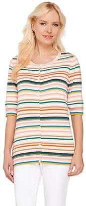 Liz Claiborne New York Elbow Sleeve Striped Cardigan