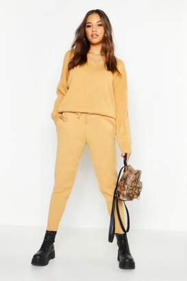 boohoo V Neck Knitted Set