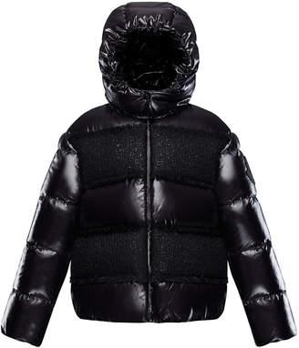 Moncler Elbe Detachable-Hood Puffer Coat w/ Tweed, Size 8-14