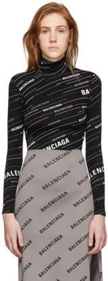Balenciaga Black Logo High Collar Turtleneck