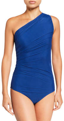 Chiara Boni Oni Illusion One-Shoulder Mesh One-Piece Swimsuit