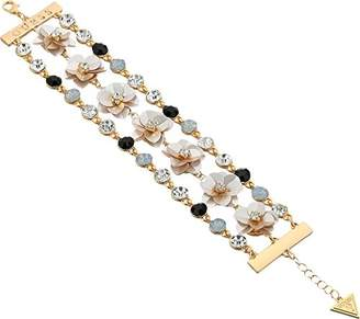 GUESS Floral La Femme Women's Link Bracelet with Stones and Sequin Flowers