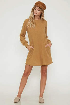 Peach Love Sweater Dress with Pockets