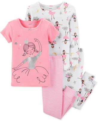 Carter's Baby Girls 4-Pc. Cotton Snug-Fit Ballerina Pajamas Set