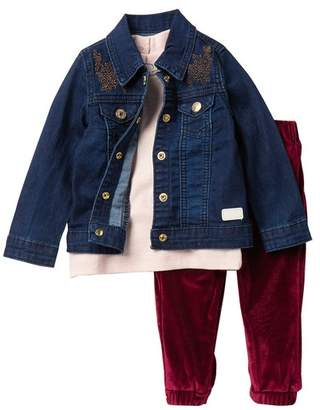 7 For All Mankind Denim Jacket, Top, & Pants Set (Baby Girls)