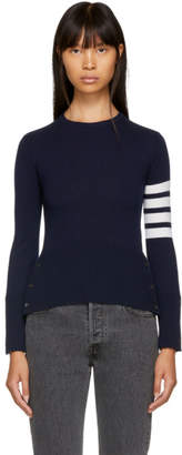Thom Browne Navy Classic Four Bar Crewneck Sweater