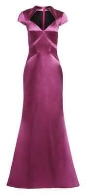 Zac Posen Women's Cap Sleeve Stretch Satin Gown - Wisteria Purple - Size 12