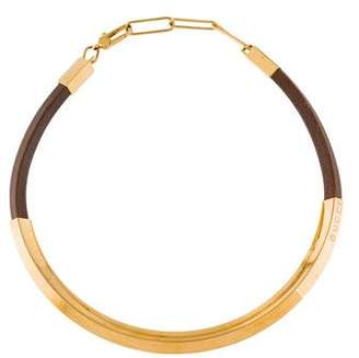 Gucci Leather Plaque Collar Necklace