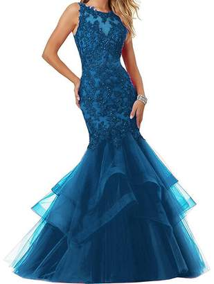 XingMeng Women's Long Mermaid Prom Evening Dresses with Beaded Lace Appliques US 26W