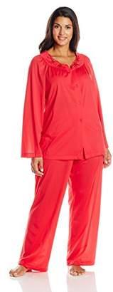 Shadowline Women's Plus-Size Petals Long Sleeve Pajama