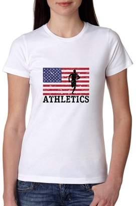 Hollywood Thread USA Olympic - Athletics - Vintage Flag - Silhouette Women's Cotton T-Shirt