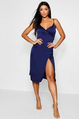 boohoo Satin Slip Wrap Detail Dress