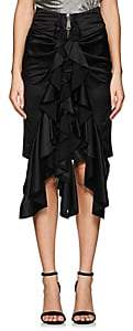 Saint Laurent WOMEN'S SILK KNEE-LENGTH RUFFLE SKIRT