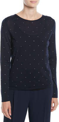 Max Mara Sierra Crewneck Long-Sleeve Speckled Wool Knit Sweater