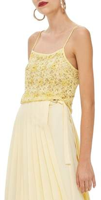 Topshop Sequin Lace Crop Camisole