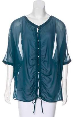Elizabeth and James Ruched Silk Blouse
