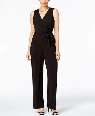 ab972b276cffc NY Collection Petite Surplice Belted Wide-Leg Jumpsuit