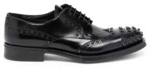 Prada Spiked Front Leather Wingtip Oxford Shoes