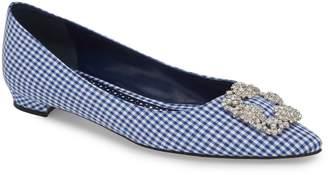 Manolo Blahnik 'Hangisi' Jeweled Pointy Toe Flat