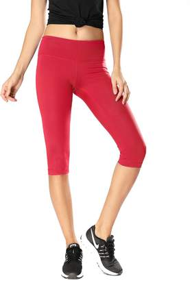 CRZ YOGA Women's Running Tights Workout Capris Leggings Yoga Pants with Pockets M