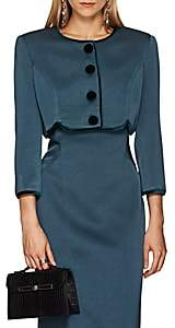 Zac Posen Women's Polished Crepe Crop Jacket - Blue