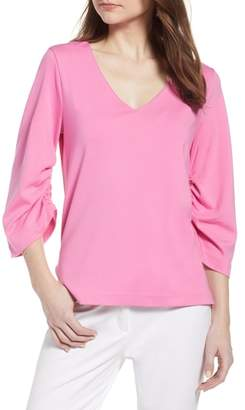 Halogen Ruched Sleeve Top