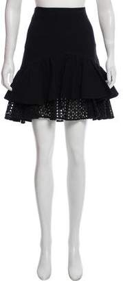 Zac Posen Eyelet Accented Knee-Length Skirt
