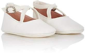 Emmy London Mimi Crisscross-Strap Flats - Cream