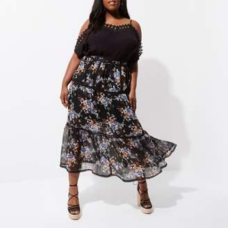 River Island Womens Plus Black chiffon floral tiered maxi skirt