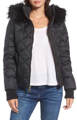 Women's Juicy Couture Hooded Puffer Jacket With Faux Fur Trim