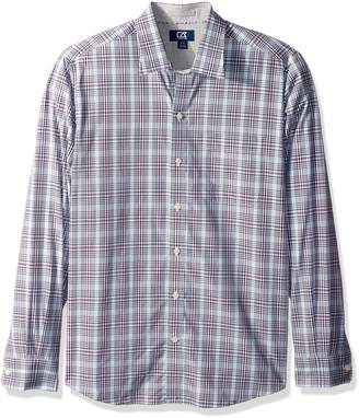 Cutter & Buck Men's Long Sleeve Non-iron Plaid Spread Collar Dress Shirt,