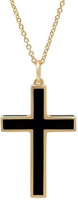 Established Black Enamel Cross Necklace - Yellow Gold