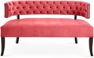 Haute House Babette Settee - Flamingo Pink Velvet