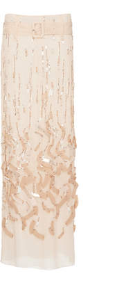 Prada Belted Embellished Silk-Chiffon Maxi Skirt Size: 38