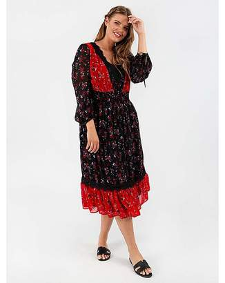 Koko Contrast Print Midi Dress