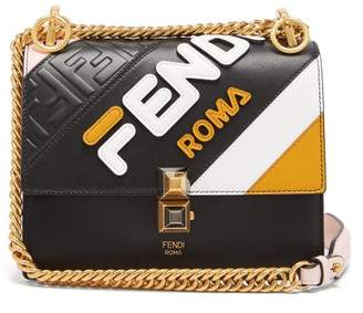 Fendi Mania Kan I Small Leather Cross Body Bag - Womens - Black Multi