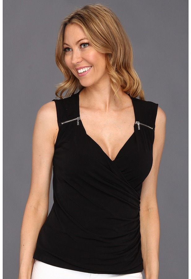Calvin Klein Sleeveless Matte Jersey With Zipper Shoulder Detail (Black) - Apparel