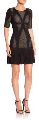 Herve Leger Pleated-Hem Mesh Knit Cocktail Dress $1,890 thestylecure.com