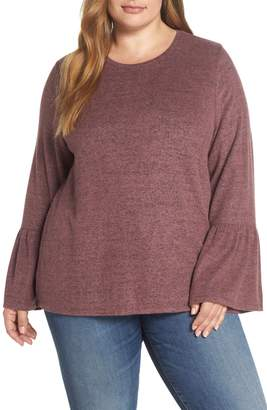 Lucky Brand Marled Bell Sleeve Top