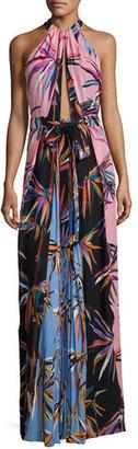 Emilio Pucci Printed Silk Keyhole Halter Gown, Black/Pink/Blue $3,800 thestylecure.com