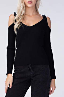 Honeybelle Black Cold-Shoulder Top